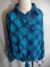 Weavers Girl Blouse & Cami Blue Plaid Polyester Size XL NWT MSRP $56 Mix & Match