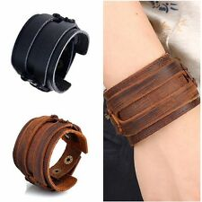 Wristband Strap Leather Double Layer Wide Bracelet Cuff Bangle
