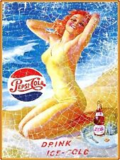 DRINK ICE COLD PEPSI COLA OFFICIALLY LICENSED METAL ADVERTISING WALL SIGN