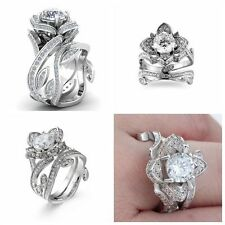 Engagement Wedding CZ Zircon Silver Plated Flower Ring Crystal