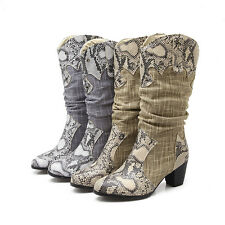 New Snake Print Mid Calf High Thick Med Heel Shoes Women Boots AU All Size F063