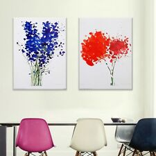 2PC Colorful Flower Frameless Canvas Painting Modular Picture for Living Room
