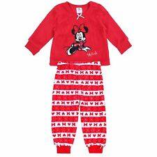 Red Long Sleeved Warm & Soft Pyjama Set For Girls Minnie Mouse DISNEY