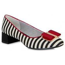 Ladies Ruby Shoo June Black and Red Striped Slip On Shoes Matching Bag Available