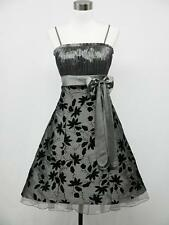 dress190 GREY FLOCK FLORAL TATTOO 50s ROCKABILLY VINTAGE PROM PARTY DRESS 8-24