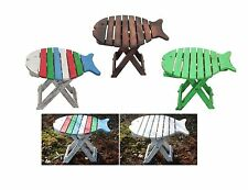 Wooden Folding Fish Shaped Stool Shabby Chic Rustic Indoor Outdoor Chair