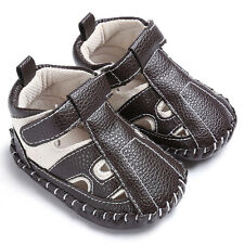 Toddler Baby Girls Boys Leather Crib Shoes Soft Sole Anti-slip Sneakers Sandals