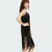 Women Black Lace Trim Side Slit Velvet Spaghetti Strap Knee Length Dress