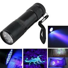 Blacklight Detection 9 LED UV Ultra Violet Mini Flashlight Torch Light Lamp NEW