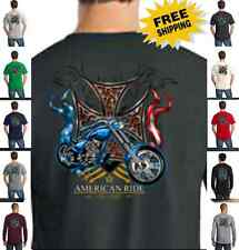 Biker American Ride Classic Motorcycle Custom Chopper Cross New Mens T Shirt