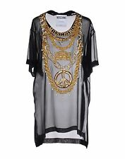 Moschino Jeremy Scott Transparent Sequin Silk TShirt w Boombox Peace Sign Chain