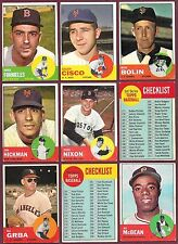 1963 Topps Lot 9A #s 28 93 106 107 168 191 231 274 387