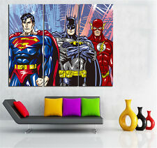 3PC No Frame Superman Flash Batman  Canvas Painting Wall Poster for Living Room