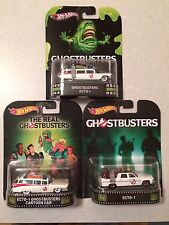 Hot Wheels Retro Entertainment Ghostbusters Ecto-1 - Lot of 3 Different Cars