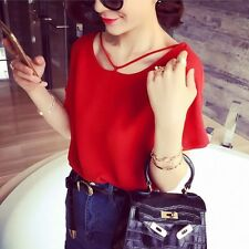 Fashion Short Sleeve Blouse Tops Women's Casual Loose Chiffon T-shirts Tops L20