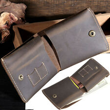 Vintage Retro Handwork Genuine Leather Bifold Wallet Men's Money Purse Billfold