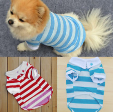 Dog Pet Clothes T-shirt Apparel Collar Striped Red or Blue - Medium or Large