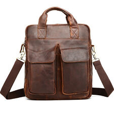 Men's Fashion Genuine Leather Messenger Shoulder Bag Briefcase Travel Hiking Bag