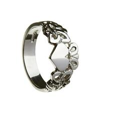 New Mens Silver Irish Celtic Claddagh Trinity Knot Ring Celtic Jewellery Boxed