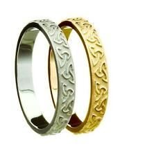 New Silver or Gold 3.9mm Trinity Knot Wedding Band Ring Irish Celtic Jewellery