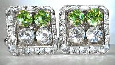 HALF & HALF PERIDOT & CLEAR CRYSTAL CUFFLINKS MADE/W SWAROVSKI CRYSTALS