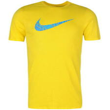 MENS YELLOW BLUE NIKE JUST DO IT SHORT SLEEVE CREW SWOOSH TEE SHIRT T SHIRT