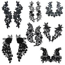 1 Pair Black Floral Embroidered Polyester Lace Applique Trim Sew on Collar