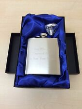 Personalised Engraved 6oz Steel Hip Flask, With Gift Box & Funnel, Wedding Gift