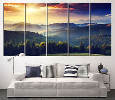 Forest with Sunset Wall Art Canvas Print - Mountain View Large Canvas Art Print