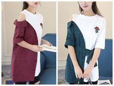 Korean New Women Off Shoulder Summer Plaid Stitching Shirt Embroidered Rose Tops