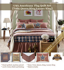 USA Vintage Style Americana Flag Quilt Set (Twin, Queen, King) Red White Blue
