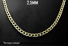 """10K Two Tone Gold 2.5mm Cuban Link Diamond Cut Pave Chain Necklace 16"""" - 24"""""""