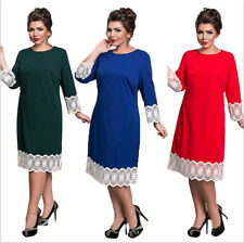 Plus Size Dress Women Clothing L-6XL O-neck Office Lace Sleeve Dress New