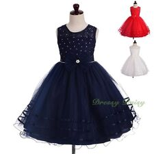 Diamante Beaded Tulle Party Occasion Wedding Flower Girl Dress Up Size 3-8 FG377