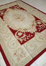 Hand-woven Reproduction Wool French Aubusson Weave Rug Free Shipping  #81