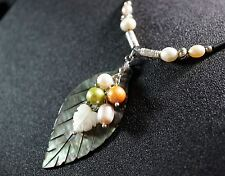 Leaf Necklace - Genuine Rainbow Shell Necklace , Fresh Water Pearl Necklace, Yog