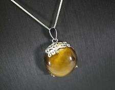 Tiger's Eye Necklace - 925 Sterling Silver Tiger's Eye Jewelry - Yoga Necklace -
