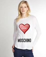 White Women Top Blouse New Modern Sexy T-shirt Heart Love Moschino
