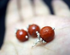 Red Jasper Choker - Tiny Faceted Red Jasper Pendant - Single Red Stone Necklace