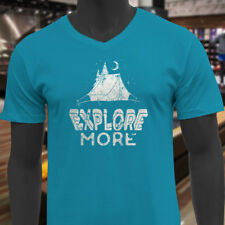 EXPLORE MORE CAMPING ADVENTURE TRAVEL OUTDOORS Mens Turquoise V-Neck T-Shirt