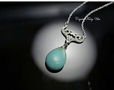 Turquoise Necklace Silver, CZ Necklace, Teardrop Natural Turquoise Pendant,
