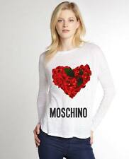 White Women Top Blouse New Modern Sexy T-shirt Heart Rose Moschino