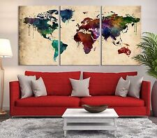 Grunge Watercolor World Map Canvas Print - Art Watercolor World Map Canvas Print