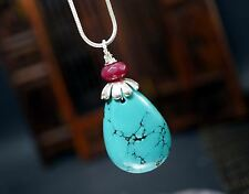 Turquoise Necklace Silver - Ruby Necklace - Teardrop Large Turquoise Pendant - C