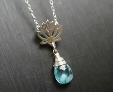 Tiny Apatite Necklace, Lotus Necklace, Sterling Silver Blue Teardrop Briolette A