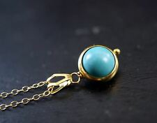 Gold Turquoise Necklace - Tiny Gold Turquoise Choker 8mm Green Stone