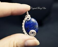 Wire Wrapped Lapis Lazuli Pendant - Lapis Jewelry - Sterling Silver Lapis Neckla