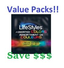 Lifestyles ASSORTED COLOR THIN Condoms, Lubricated Latex Condom Value packs!!