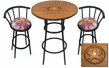 HAND CARVED OAK BAR TABLE SET W/GLASS TOP AND 2 DREAMY HORSE THEMED BAR STOOLS