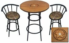 HAND CARVED OAK BAR TABLE SET W/GLASS TOP AND 2 WESTERN TAPESTRY BAR STOOLS